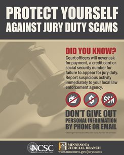 Image about jury scams and protecting yourself by not giving out personal info by phone or email
