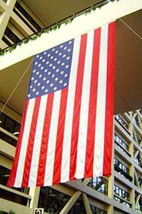 American flag hanging from ceiling in the Hennepin County Government Center