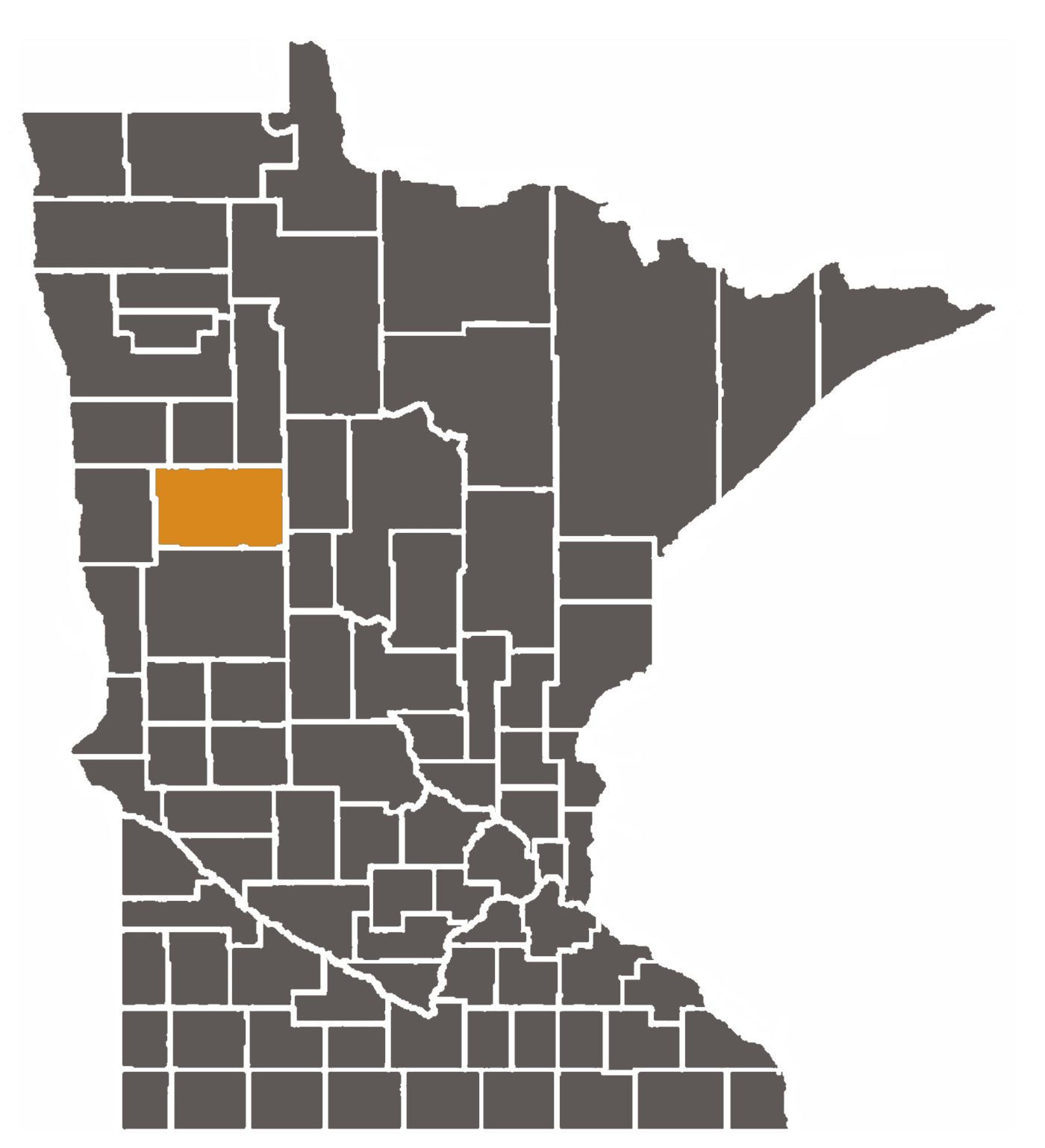 Minnesota map with Backer County Highlighted