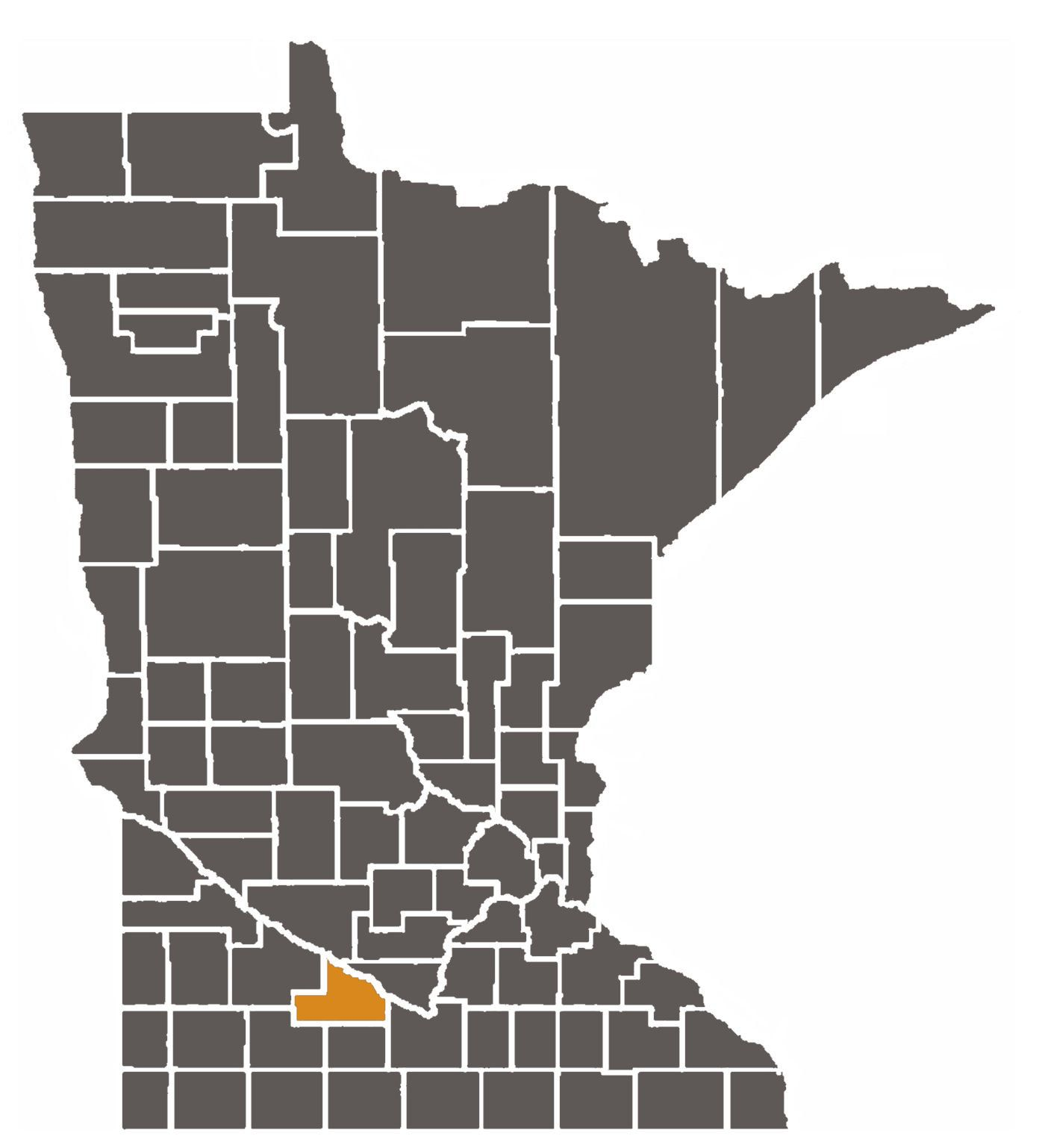 Minnesota map with Brown County highlighted.