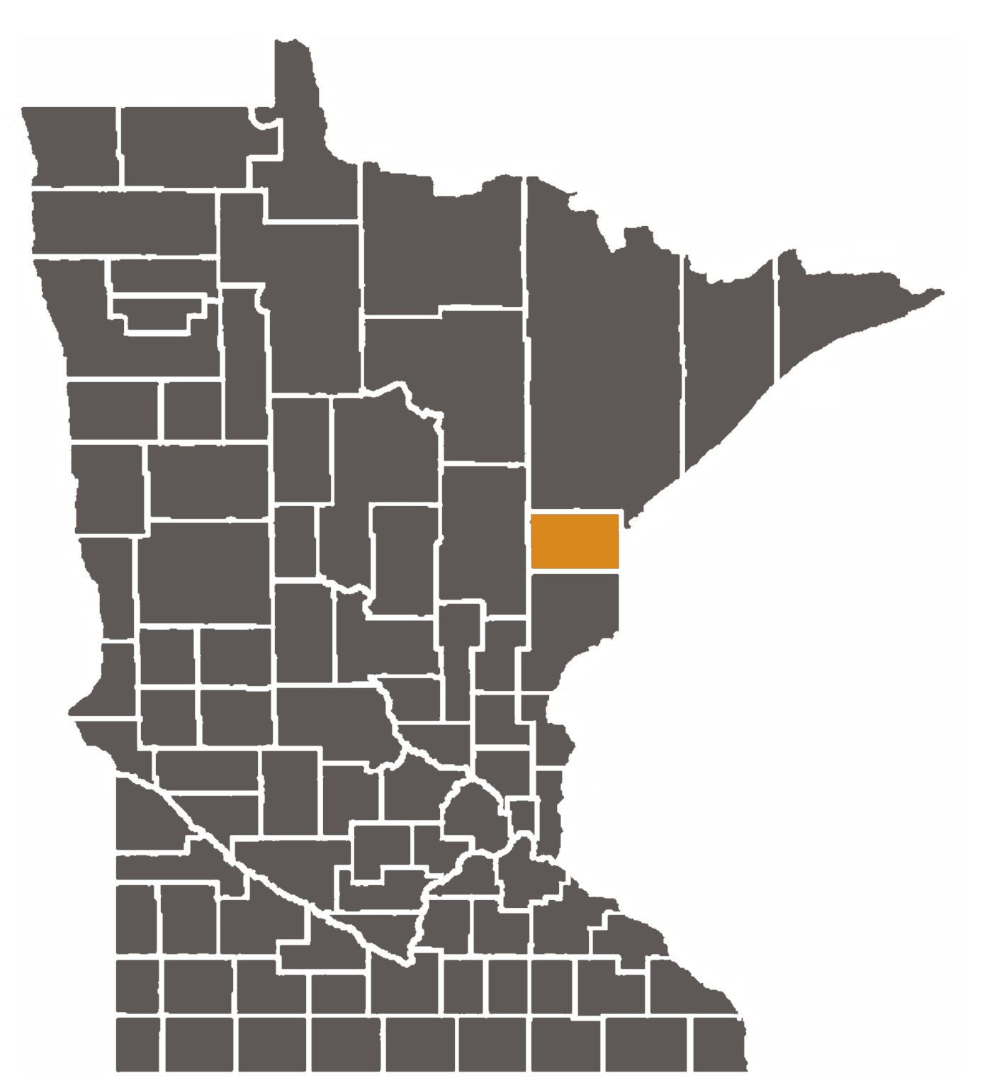 Minnesota map with Carlton County highlighted