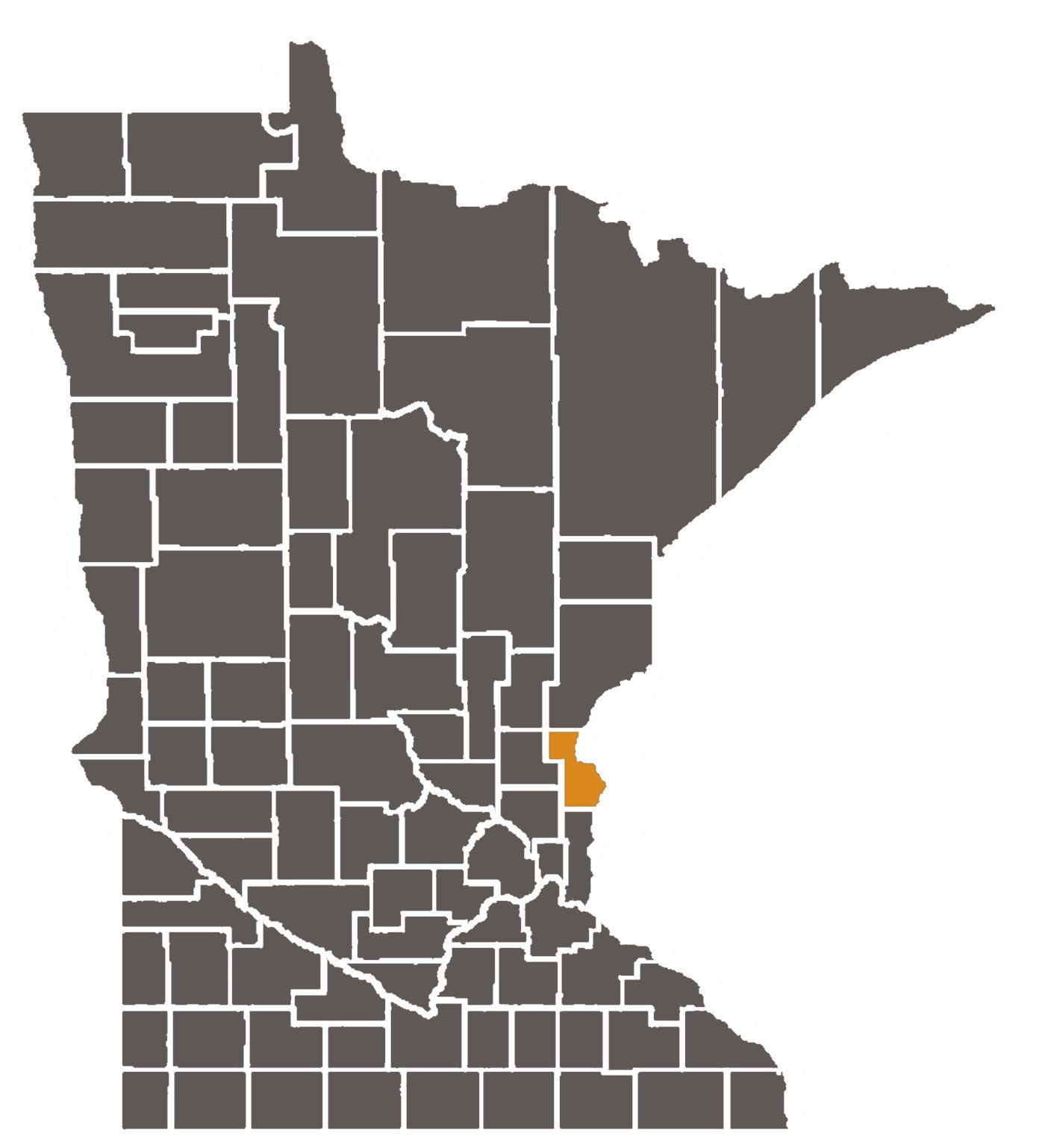 Minnesota map with Chisago County highlighted.