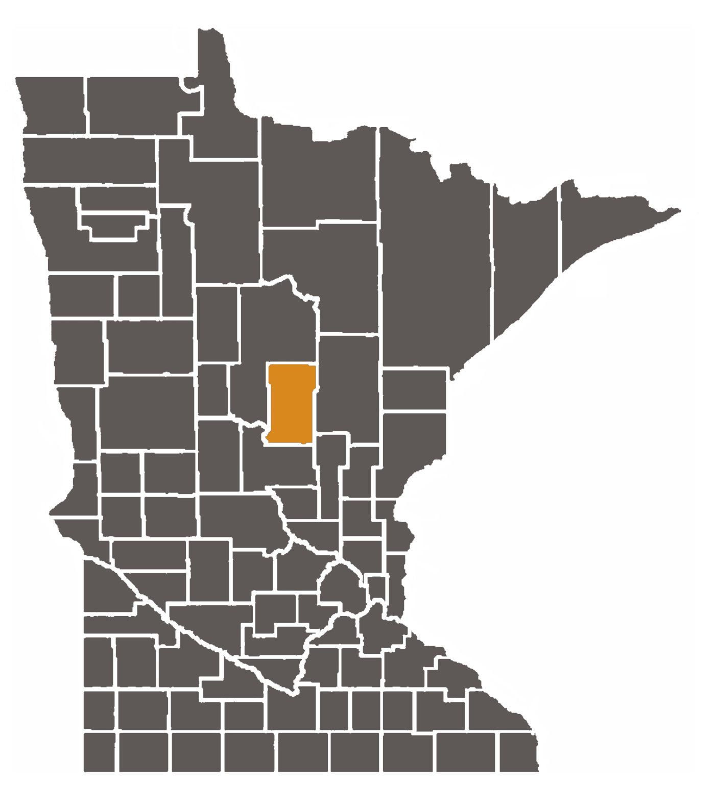 Minnesota map with Crow Wing County highlighted
