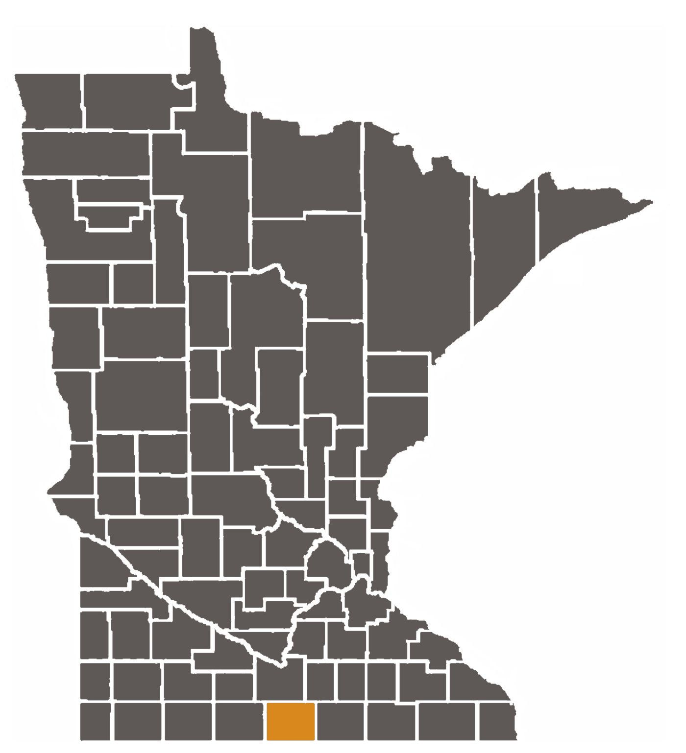 Minnesota map with Faribault County highlighted.
