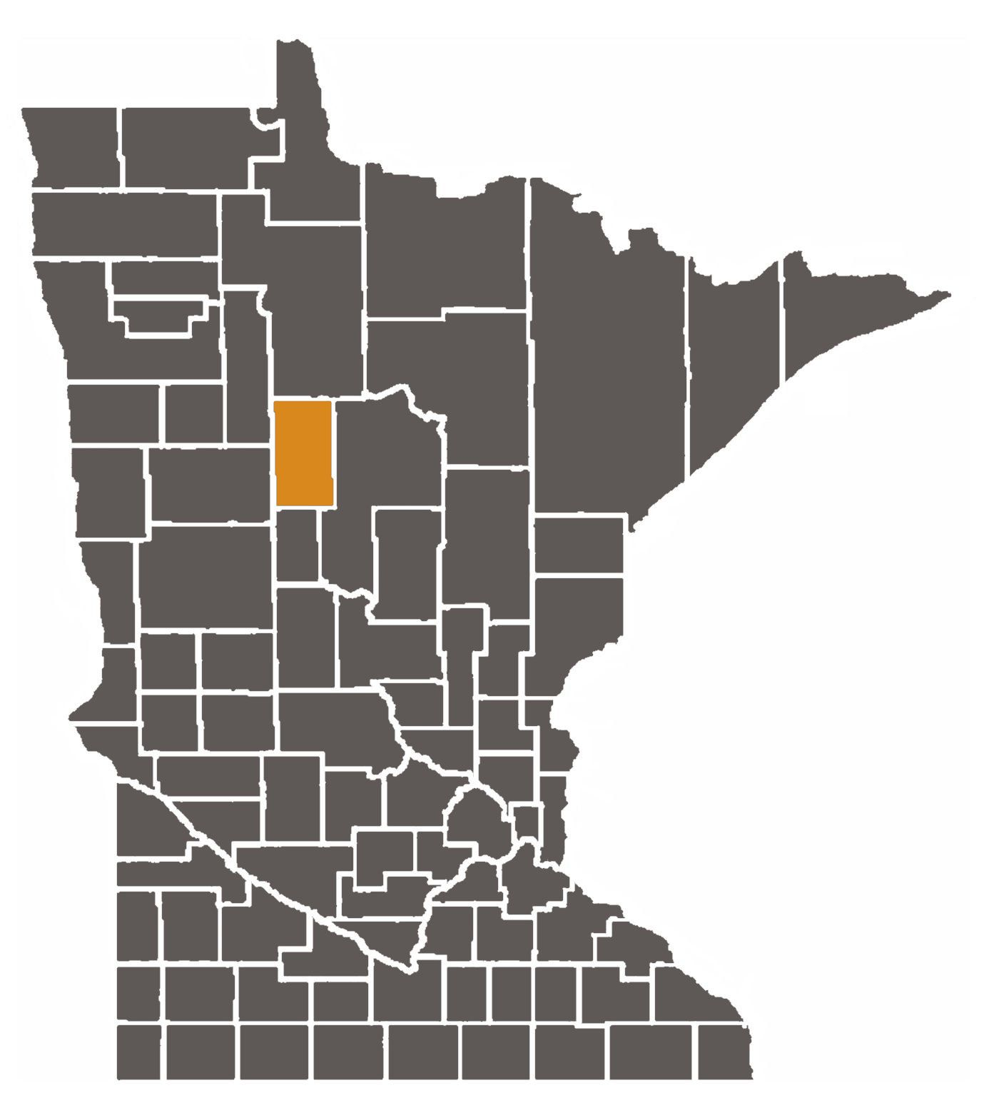 Minnesota map with Hubbard County highlighted.