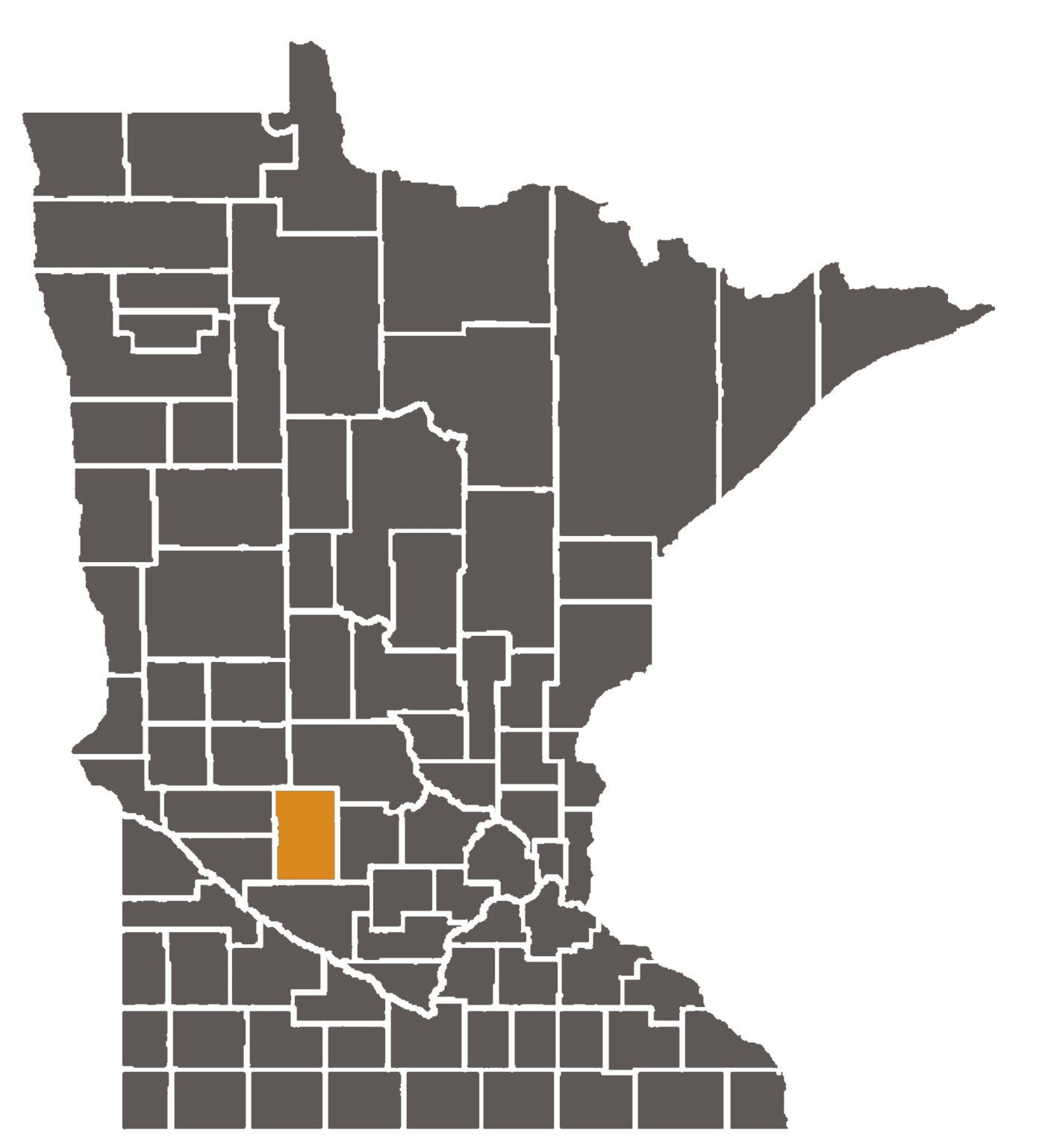 Minnesota map with Kandiyohi County highlighted.