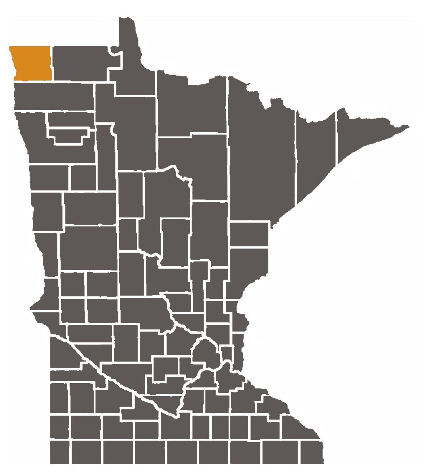 Minnesota map with Kittson County highlighted.