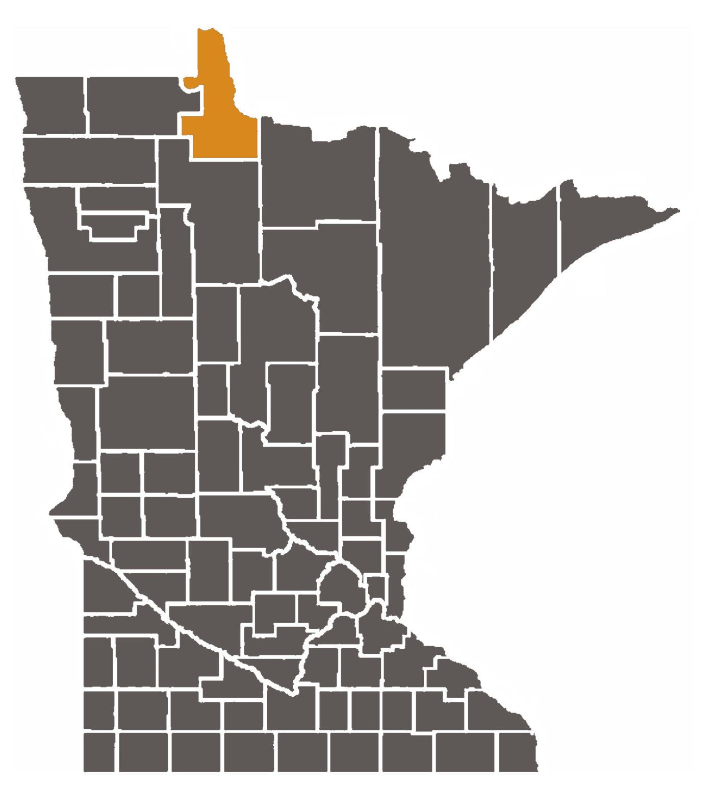 Minnesota map with Lake of the Woods County highlighted.