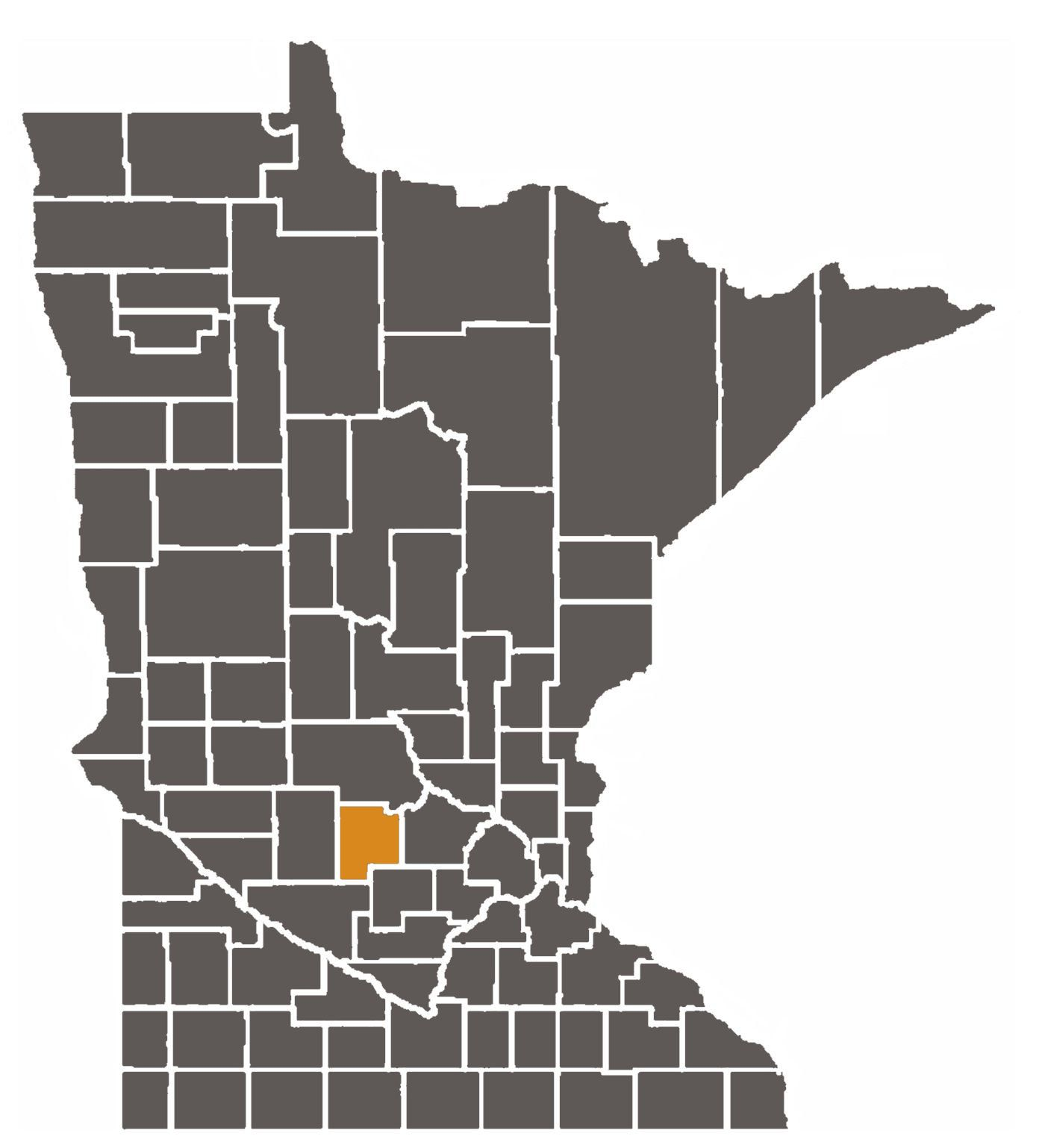 Minnesota map with Meeker County highlighted