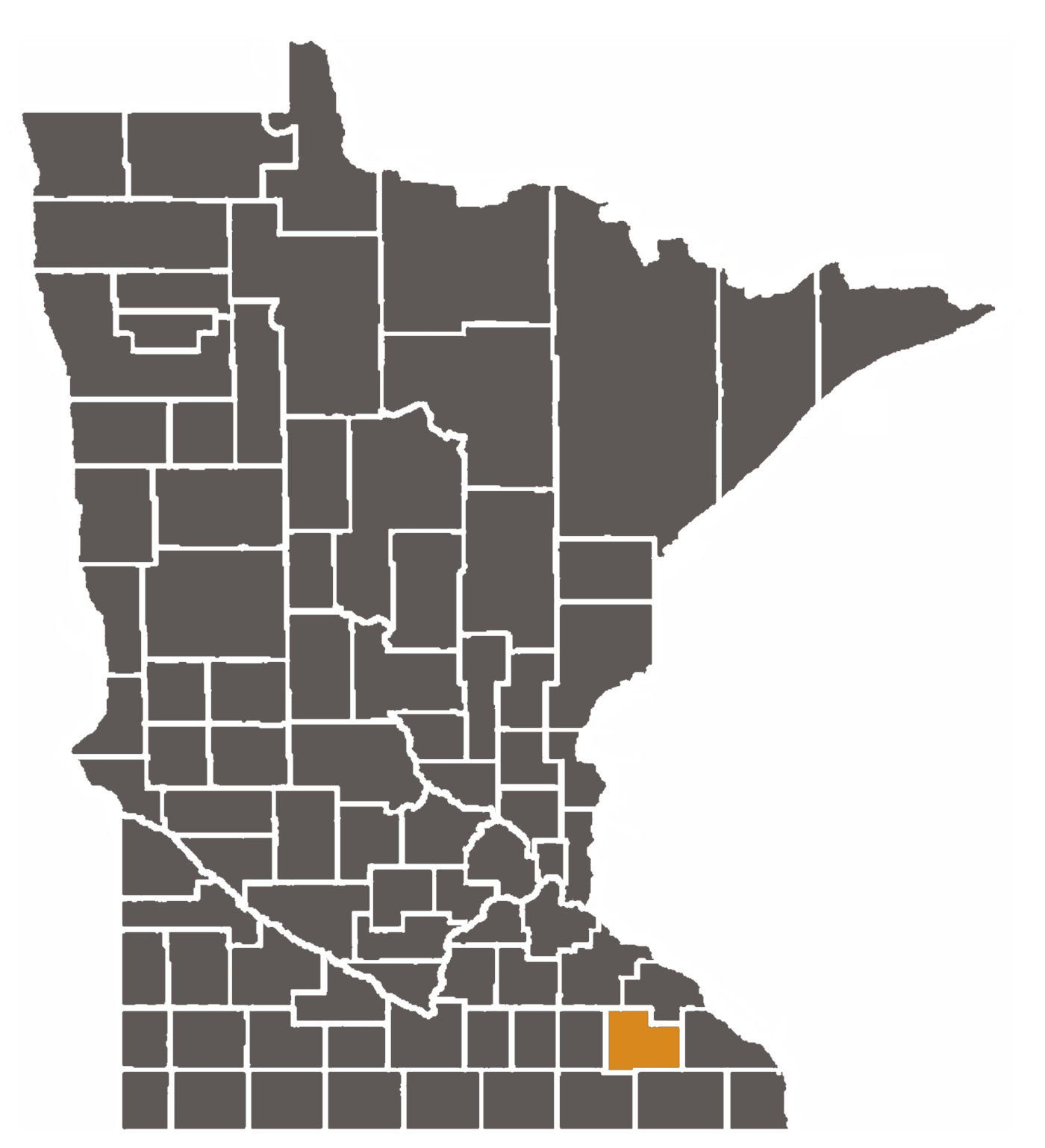 Minnesota map with Olmsted County highlighted.