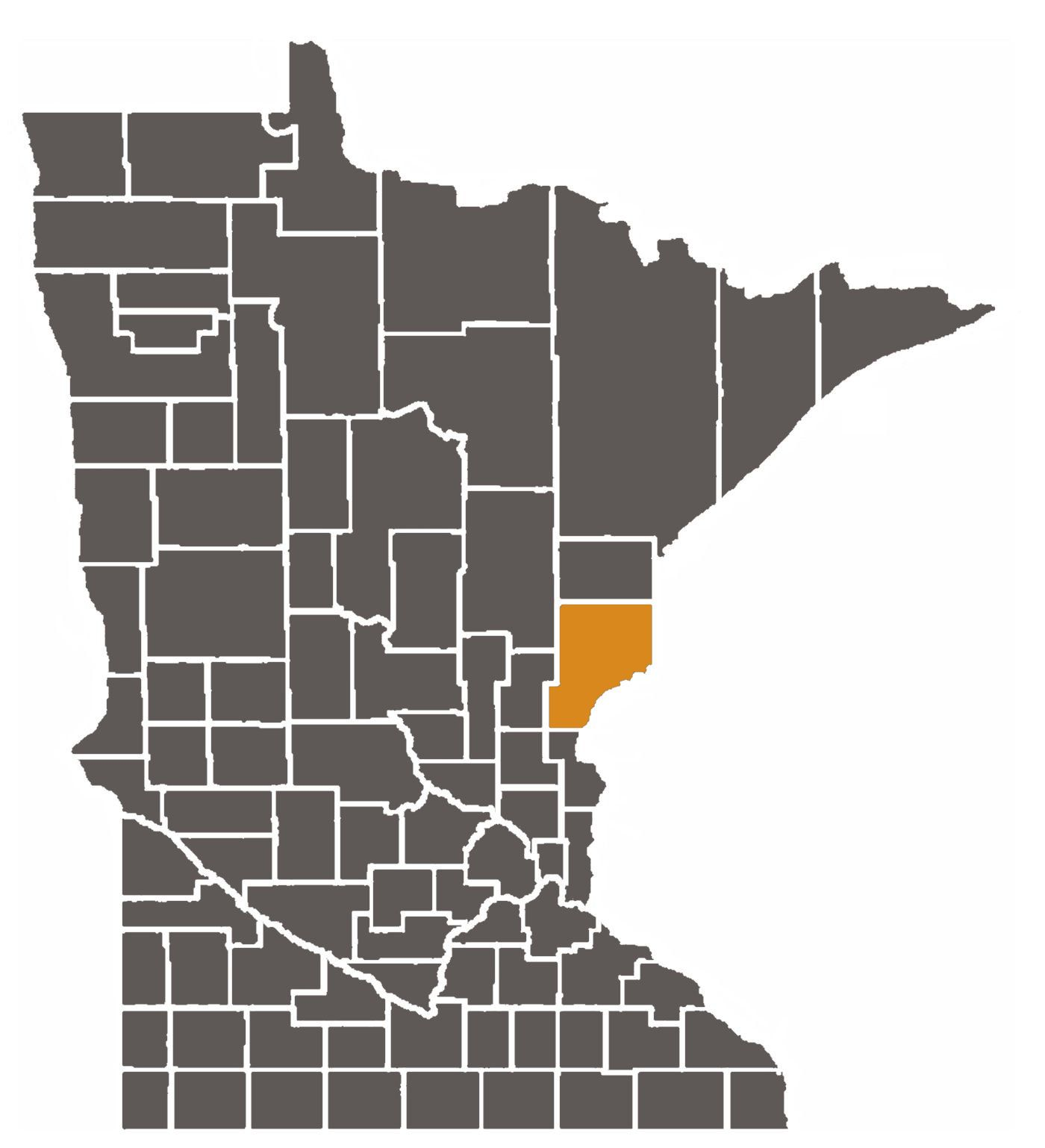 Minnesota map with Pine County highlighted.
