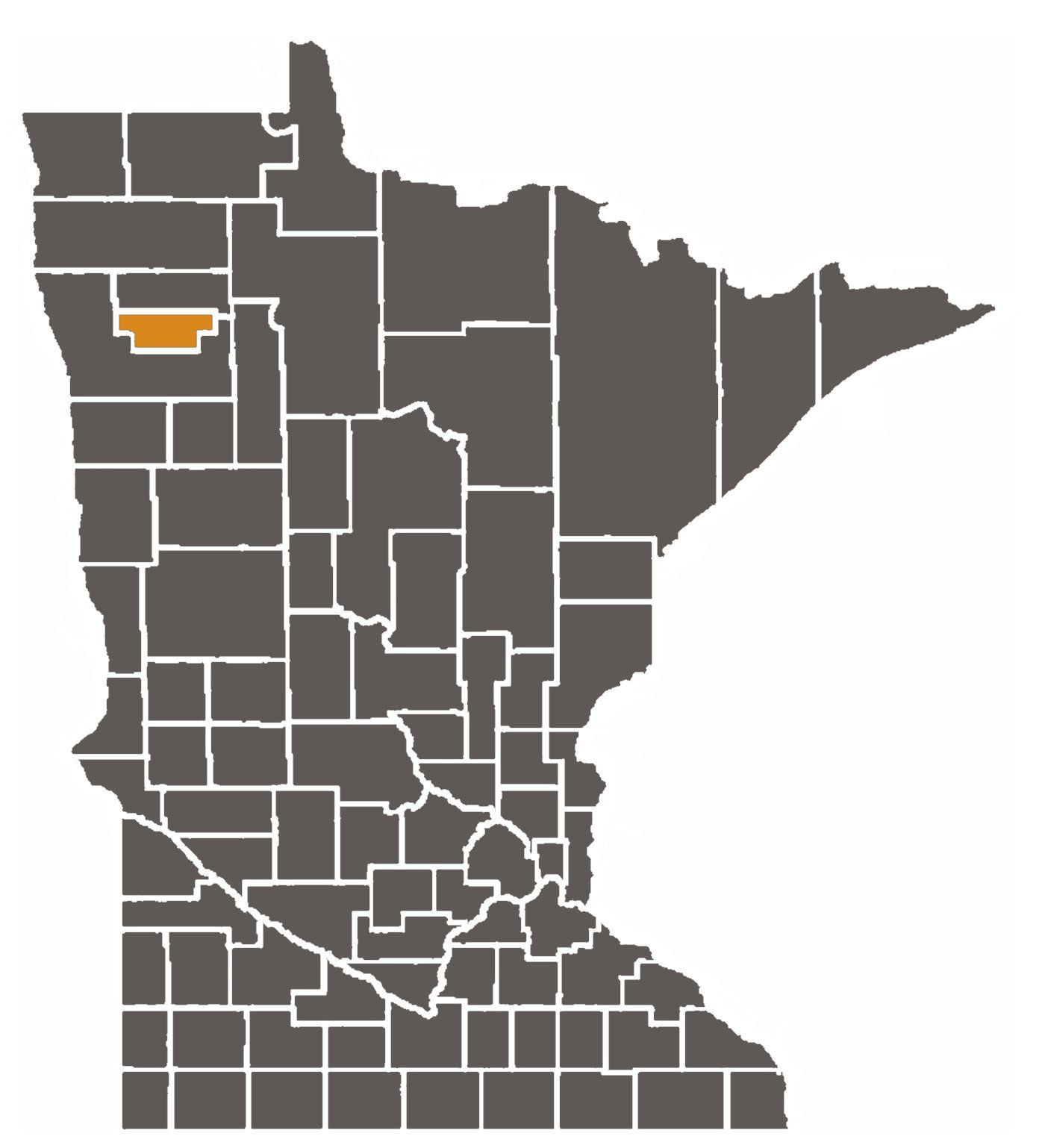 Minnesota map with Red Lake County highlighted.