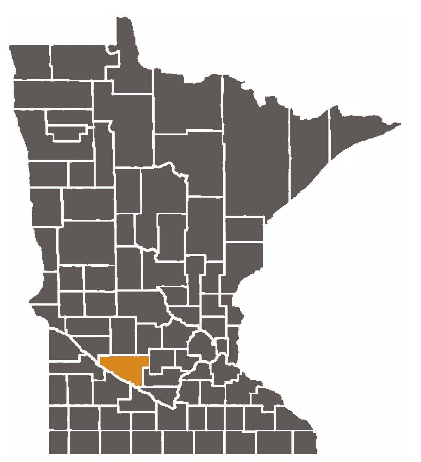 Minnesota map with Renville County highlighted.