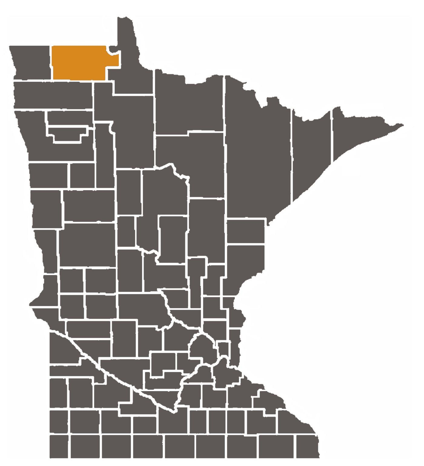 Minnesota map with Roseau County highlighted.