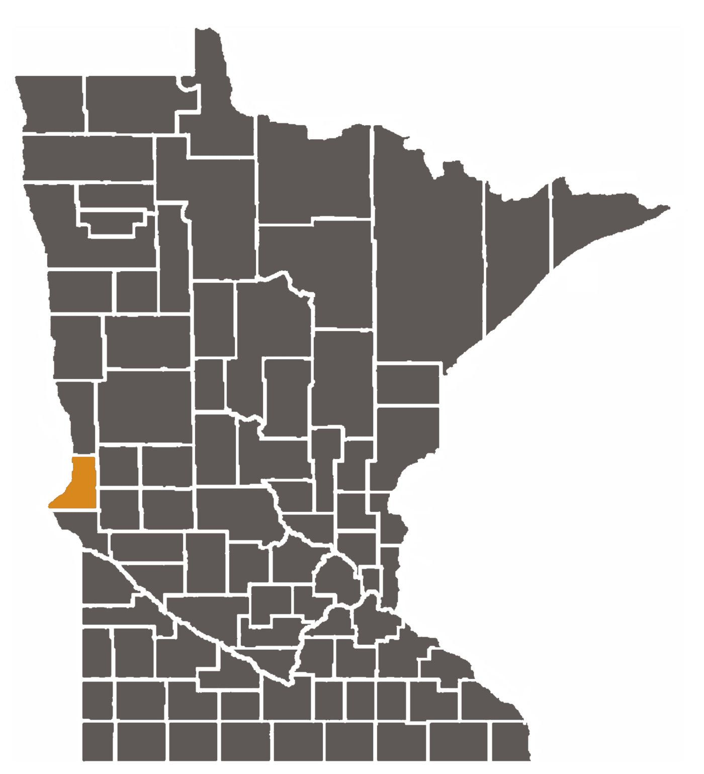 Minnesota map with Traverse County highlighted.