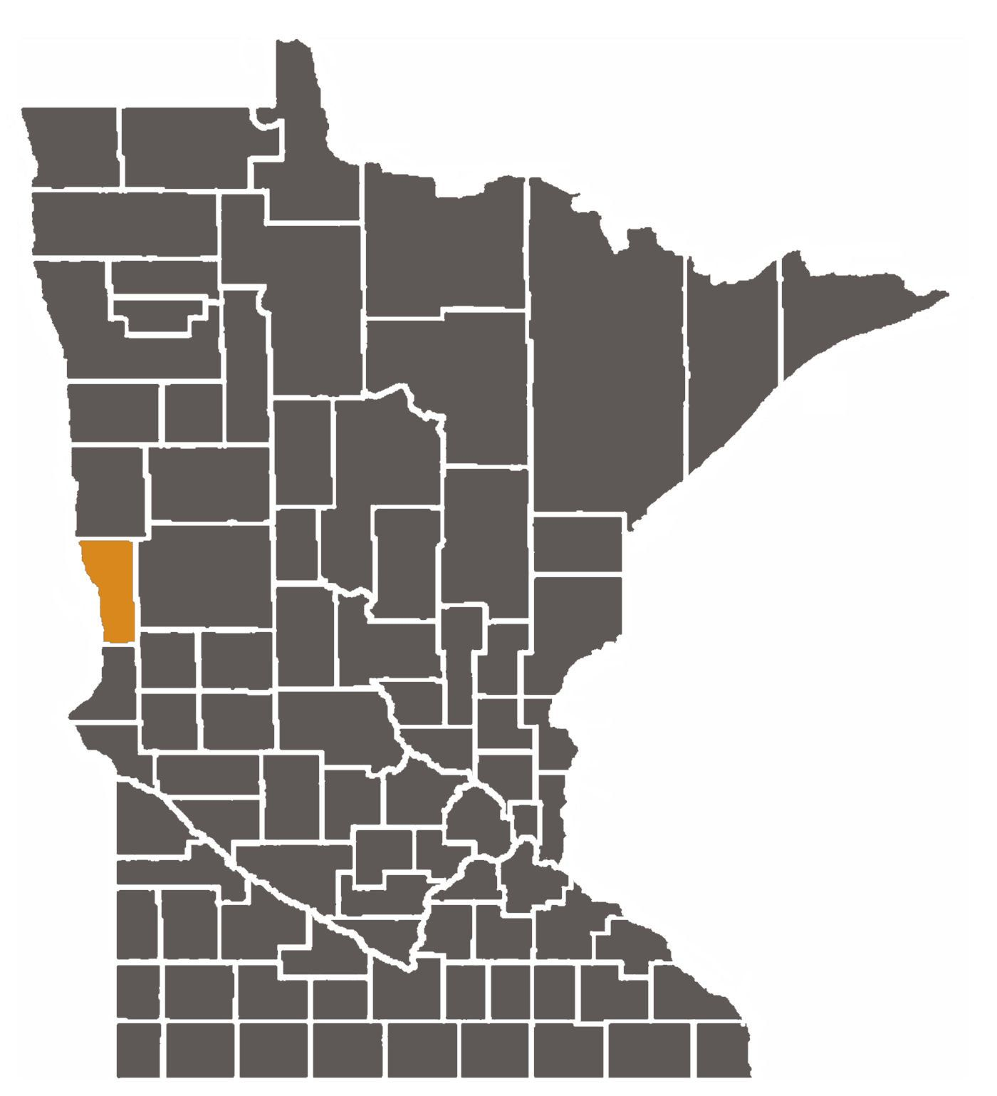 Minnesota map with Wilkin County highlighted.