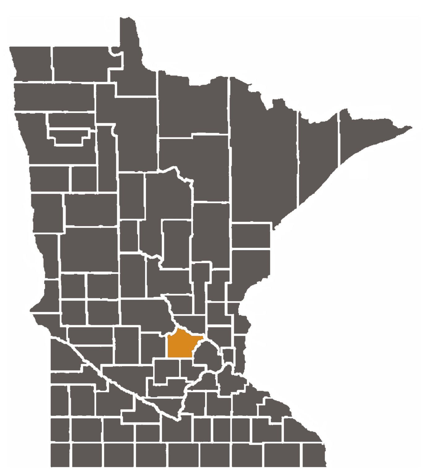Minnesota map with Wright County highlighted.